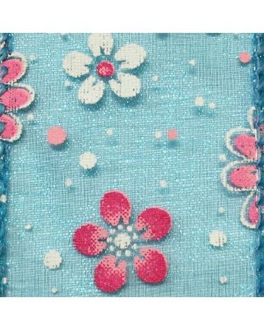 Fita Organza Aramada Azul c/ Flores - Azul - 38mmx10y - FT4589