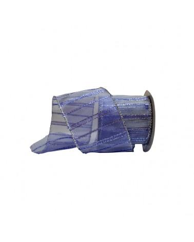 Fita Organza Aramada c/ Riscas Verticais Azuis 65mm - Azul - 65mmx10mts - FT4591