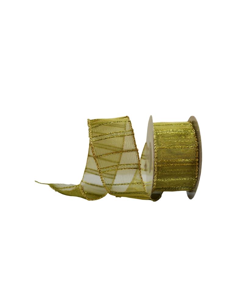Fita Organza Aramada c/ Riscas Verticais Amarelo 38mm - Amarelo - 38mmx10mts - FT4594