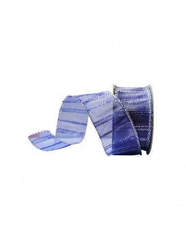 Fita Organza Aramada c/ Riscas Verticais Azuis 38mm - Azul - 38mmx10mts - FT4592