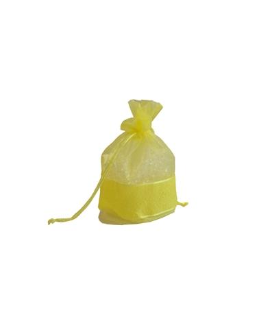 Saco Organza Amarelo c/ faixa - Amarelo - 9x14x14cm - EO0317