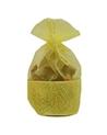 Saco Organza Amarelo c/ faixa - Amarelo - 9.5x13x6cm - EO0318