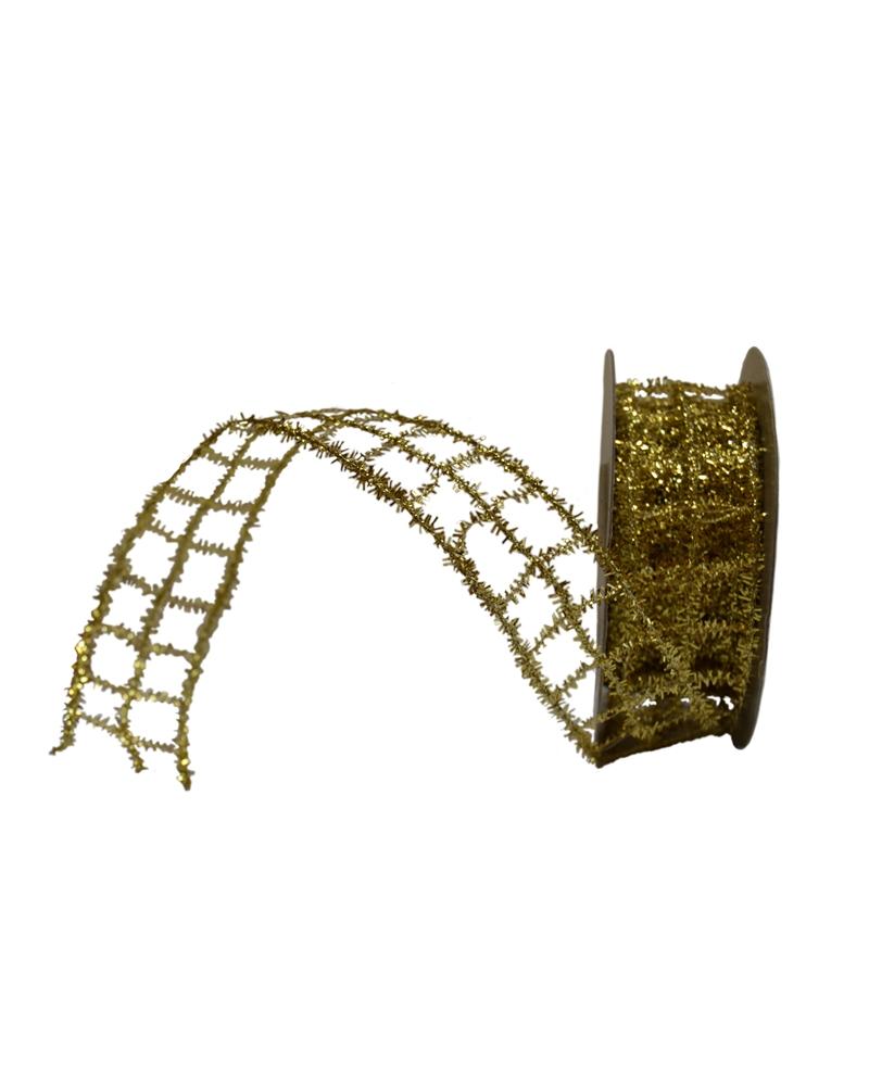 Fita Rede Metalizada Dourada 25mm - Dourado - 25mmx10mts - FT3640