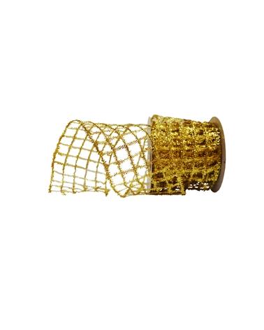 Fita Rede Metalizada Dourada 55mm - Dourado - 55mmx10mts - FT3645
