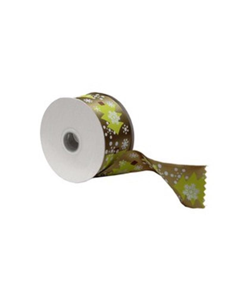 Fita Tecido Verde c/ Arvore Natal 40mmx10y - Verde - 40mmx10mts - FT4212