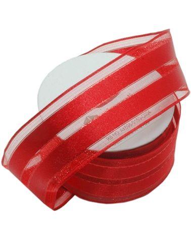 Fita Organza Aramada Vermelha c/ 2 Listas Vermelhas 38mmx10y - Vermelho - 38mmx10mts - FT4905