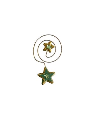 ESTRELAS ARVORES (CX C/24) VERDE/DOURADO NATAL - Verde/Dourado - 9cm - DV0375