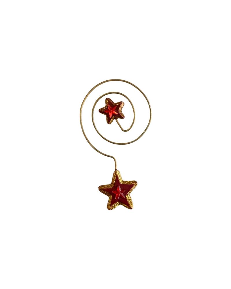 ESTRELAS ARVORES (CX C/24) VERM./DOURADO NATAL - Vermelho/Dourado - 9cm - DV0376