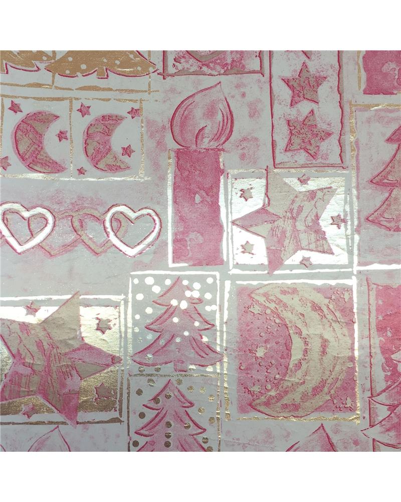 Rolo PP Metalizado Prateado e Rosa Natal 0.70x250mts - Prateado - 0.70x250mts - BB1468