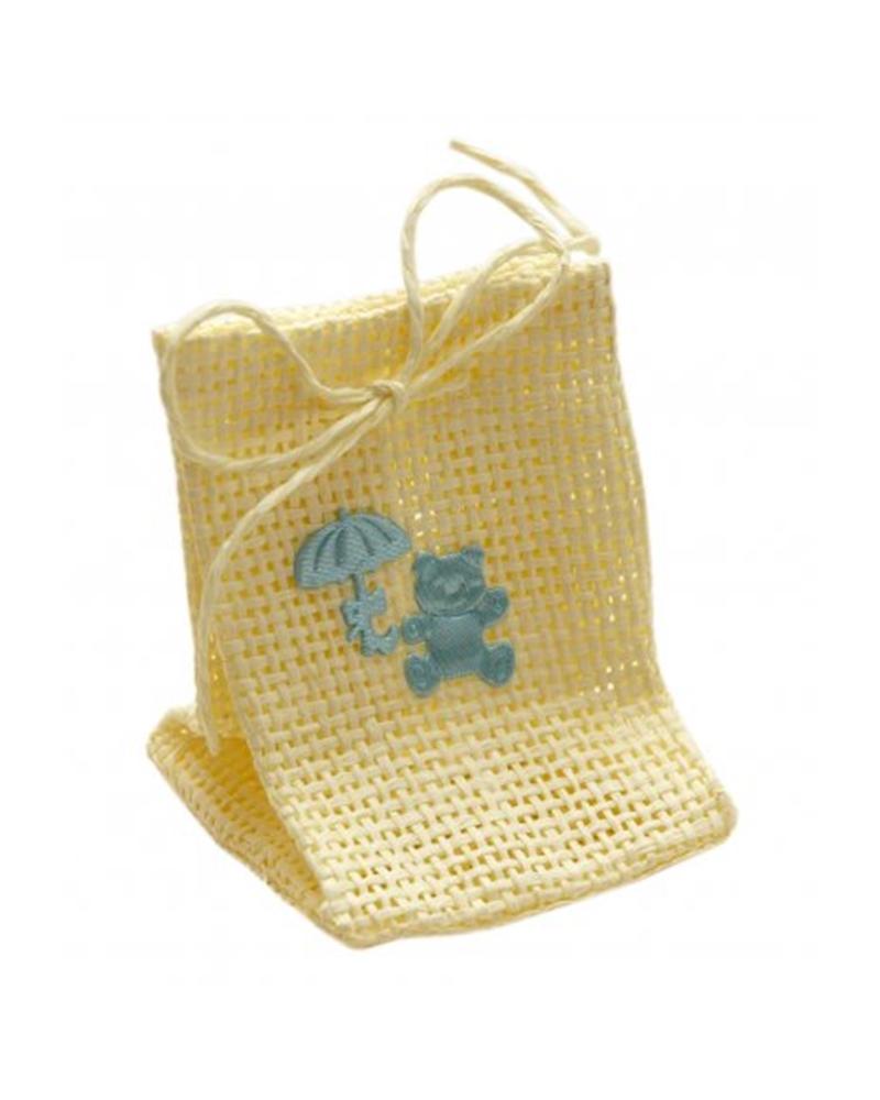 Saco em Juta Bege c/ Urso Azul - Beige - 6+6x9cm - EO0426