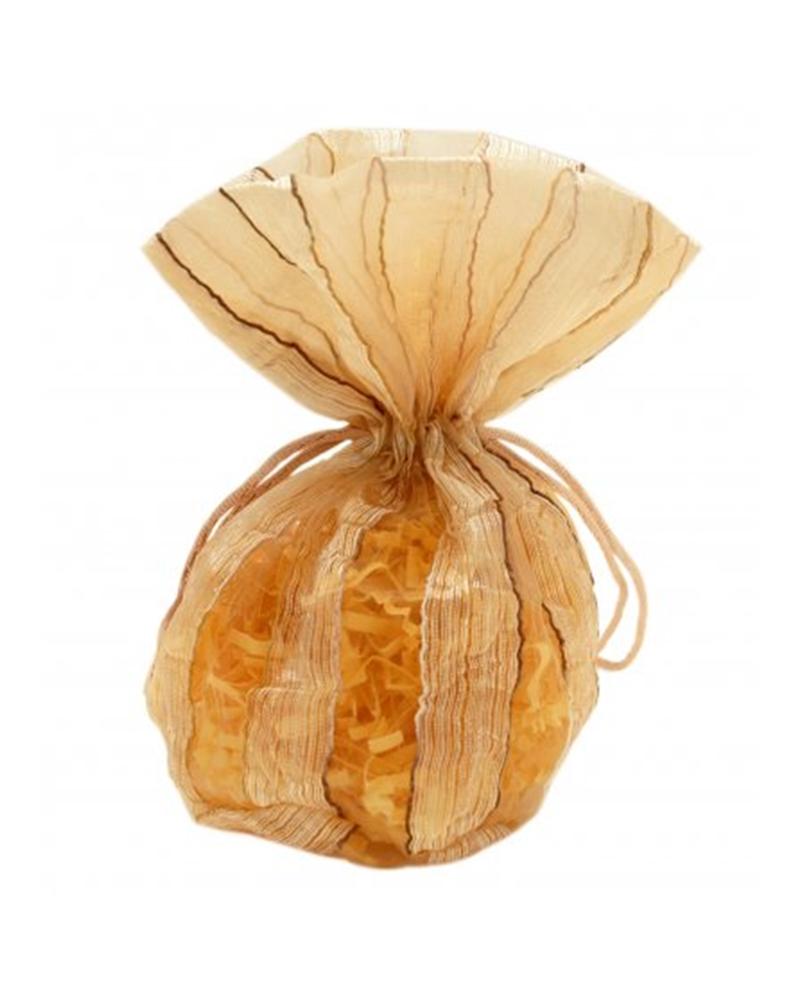 Saco Organza Dourado Riscas - Dourado - 10x10+6cm - EO0428