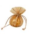 Saco Organza Dourado Riscas - Dourado - 13x15+9cm - EO0430