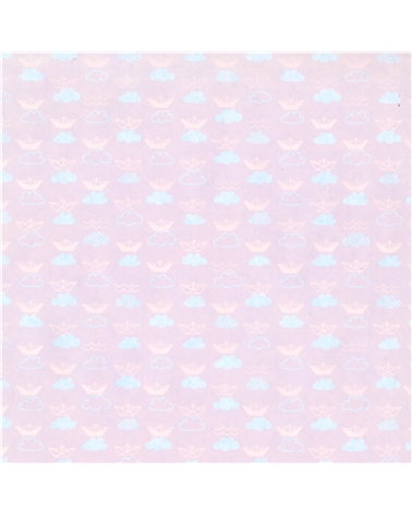Rolo Papel Kraft Branco Dupla Face fundo Azul/Rosa - Azul/Rosa - 0.70x100mts - BB2293