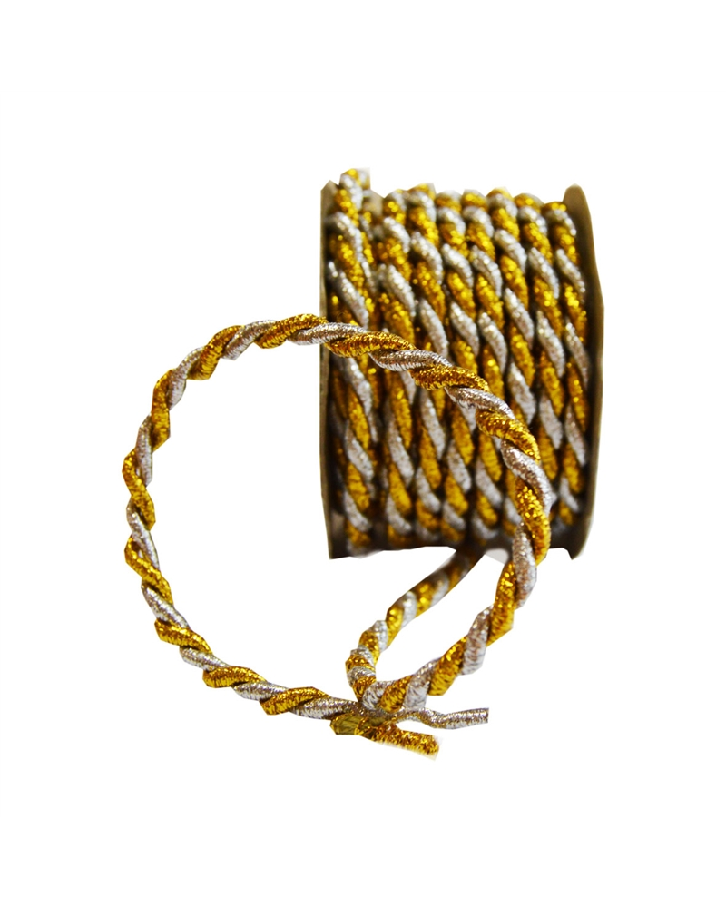 Rolo Cordão Dourado/Prateado (5MMX10MTS) - Dourado/Prateado - 5mmx10mts - FT3120