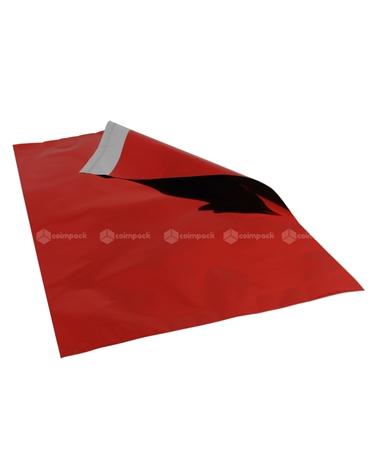 Saco c/Pala Autocolante Metalizado Fundo Vermelho - Vermelho - 35x50+5cm - SC3109