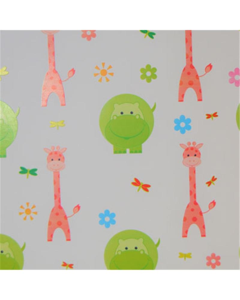 Papel Criança Branco com Girafas&Hipopótamos - Branco - 70x100cm - PP2842