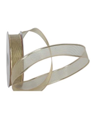 Fita Organza Dourado c/ 2 Riscas Douradas 16mmx10y - Dourado - 16mmx10mts - FT2021