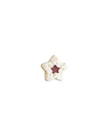 Caixa c/10 Estrelas Brancas/Vermelhas c/Autocolante - Branco - 2.5cm - DVC0466