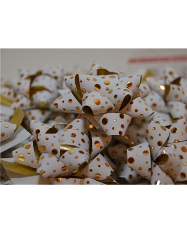 Laço Autoc. Metalizado Branco com Bolas - Branco - 10mm - LÇ0674