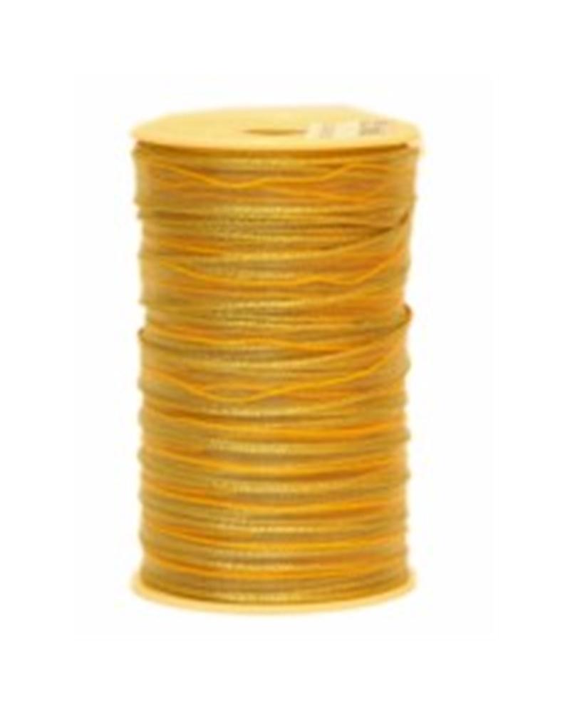 Fita Tecido C/Tirante Riscas Dourado Bege - Dourado - 10mmx25mts - FT3389