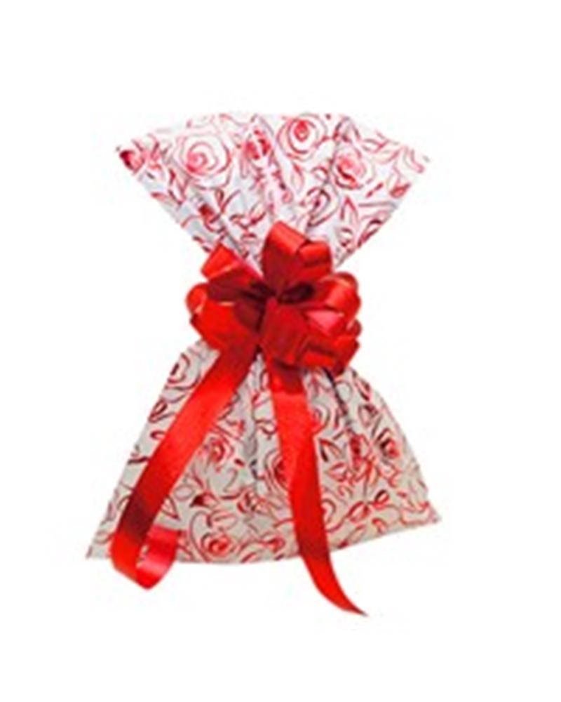 Saco com Pala Polipropileno Rosas Bege/Vermelho 35x50 - Beige/Vermelho - 35x50cm - SC2761