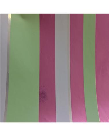 Papel Reflex Branco Listado Lilás/Verde 70x100cm - Lilás/Verde - 70x100cm - PP2645