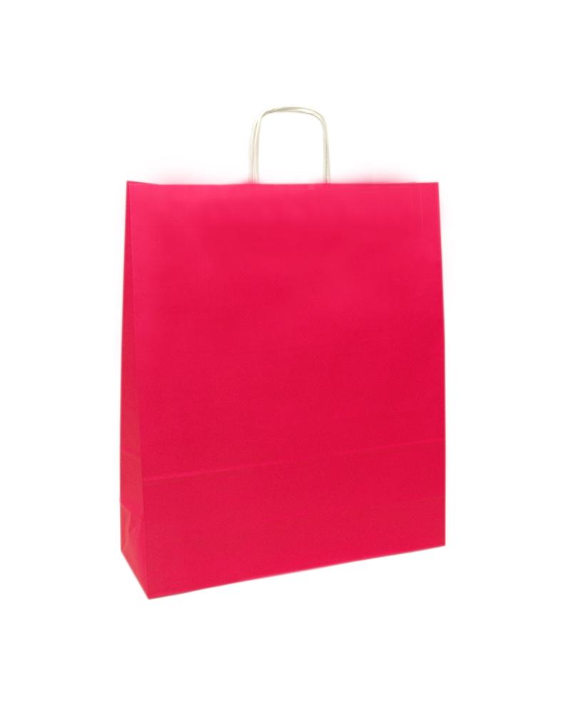 Saco Asa Retorcida Branco Liso Fundo Rosa - Rosa - 45+14x48 - SC3039