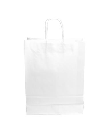 Saco Asa Retorcida Papel Kraft Branco Liso - Branco - 32+12x42 - SC2992