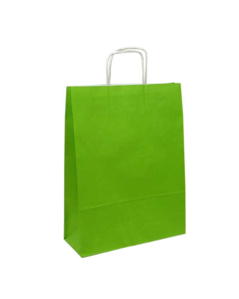 Saco Asa Retorcida Branco Liso Fundo Verde Claro - Verde Claro - 32+12x42 - SC3066