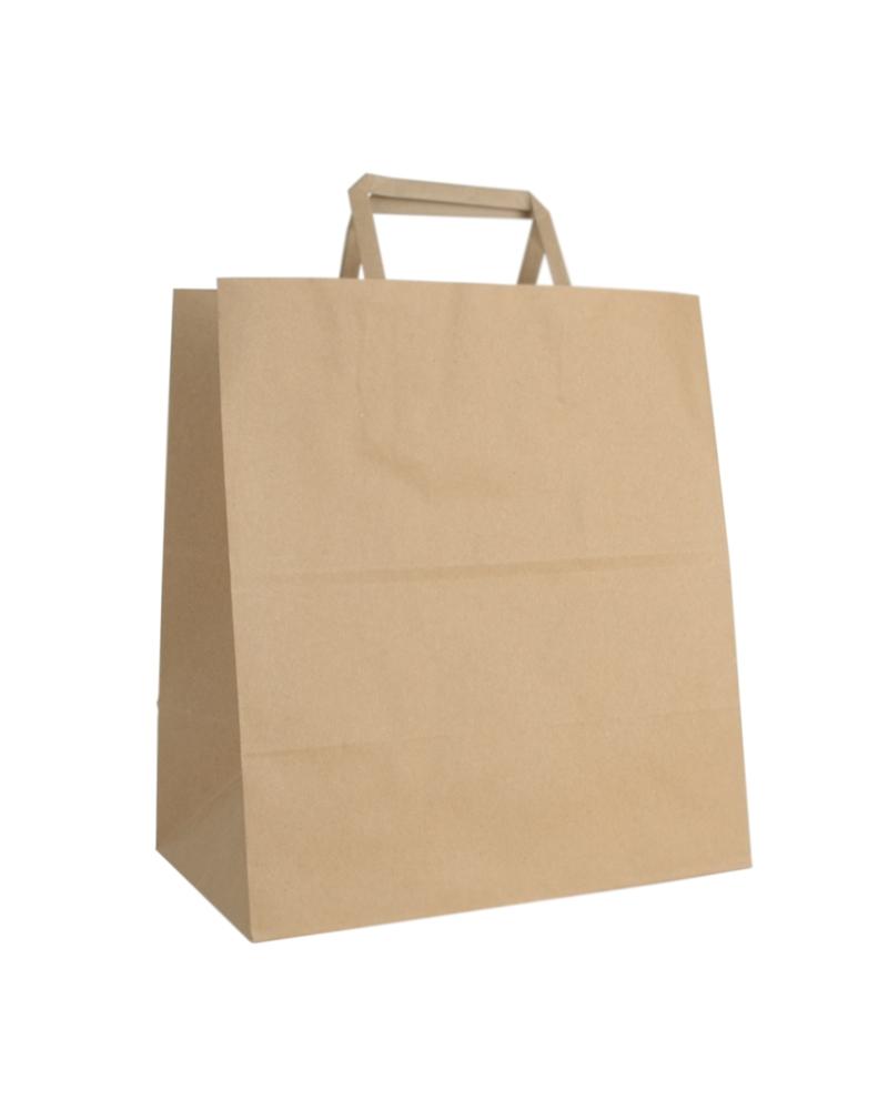 Saco Asa Plana Take Away Kraft Reciclado - Kraft Reciclado - 26+16x29 - SC3027