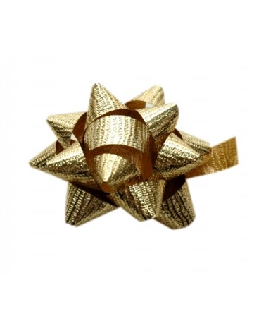Laço Autoc. Metalizado Gofrado Dourado 10mm - Dourado - 10mm - LÇ0584