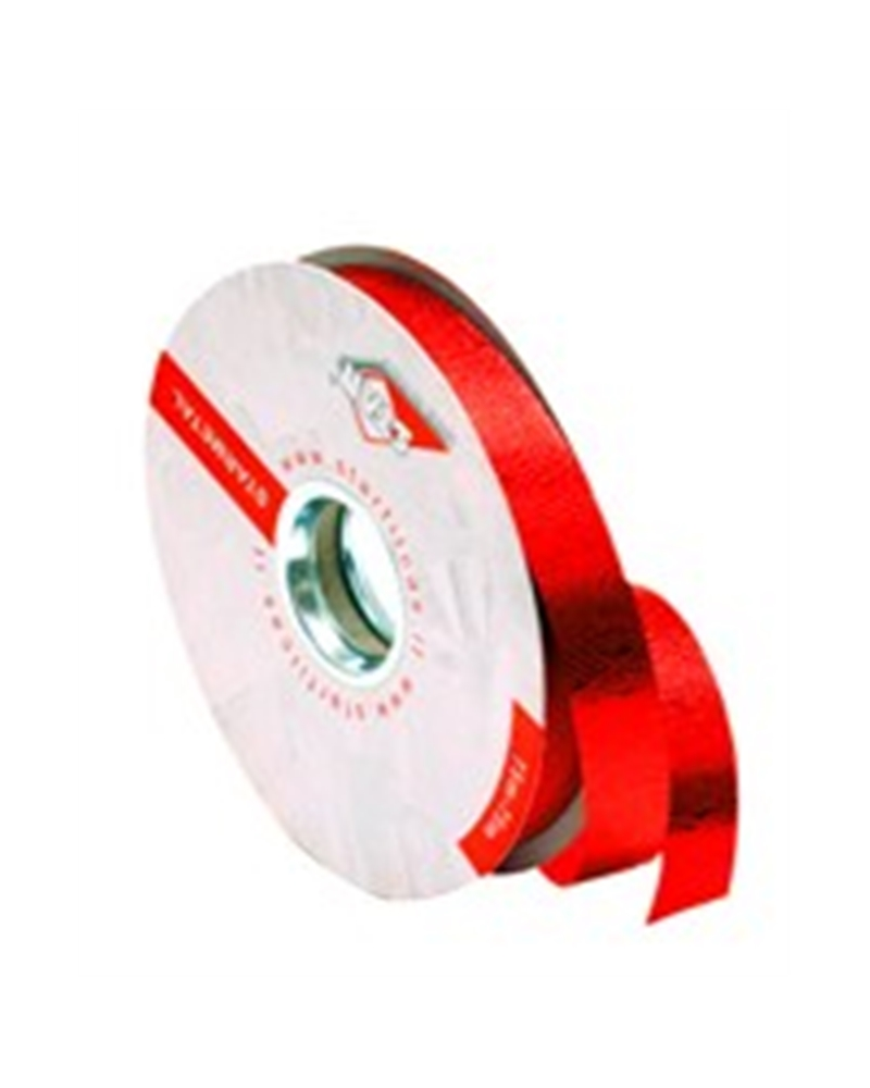 Rolo Fita Metalizada Gofrada Vermelho 19mm - Vermelho - 19mmx75mts - FT4113