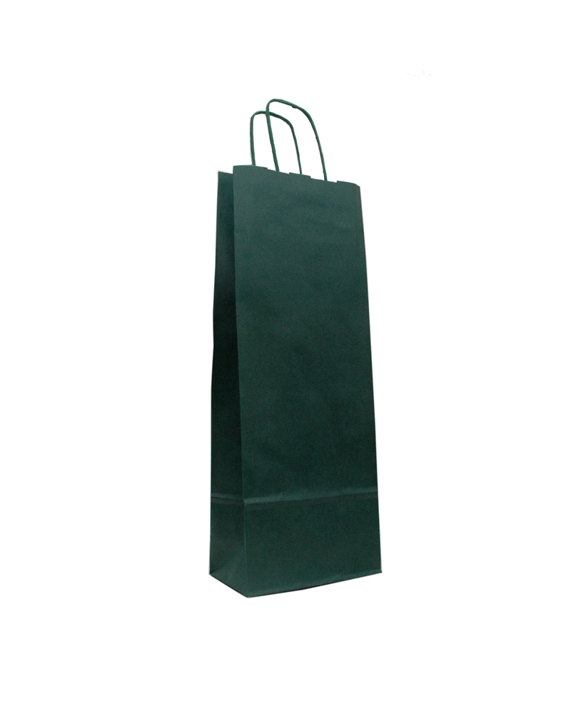 Saco Asa Retorcida Kraft Verjurado Verde para 1 Garrafa - Verde - 15+08X39.5 - SC2634