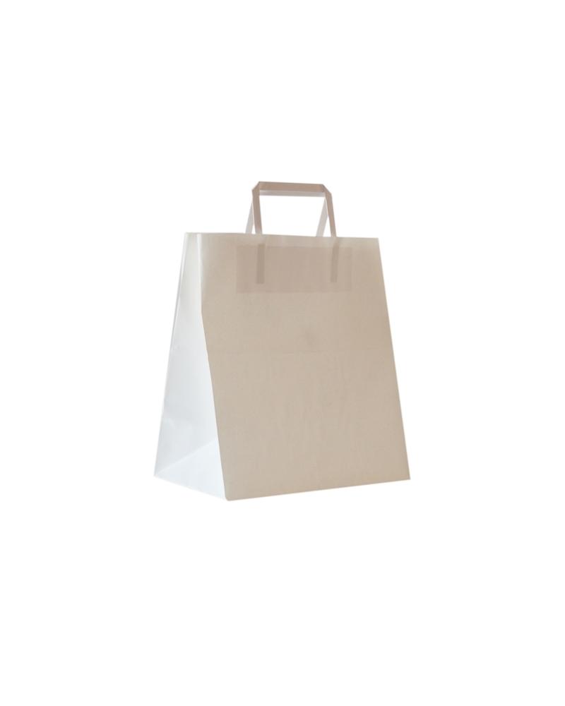 Saco Asa Plana Take Away Kraft Branco - Branco - 26+16x29 - SC3028