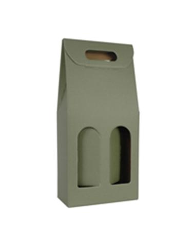 Caixa Linea Verde Scatola para 2 Garrafas - Verde - 180x90x385mm - CX3464