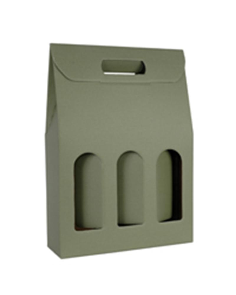 Caixa Linea Verde Scatola para 3 Garrafas - Verde - 270x90x385mm - CX3465