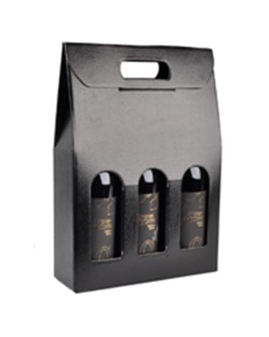 Caixa Pelle Nero Scatola para 3 Garrafas - Preto - 270x90x385mm - CX3290