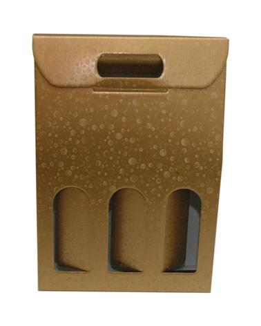 Caixa Sfere Oro Scatola para 3 Garrafas - Dourado - 270x90x385mm - CX3622