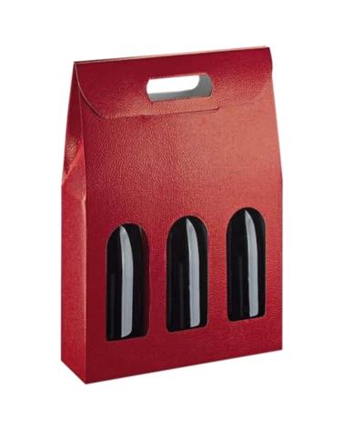 Caixa Pelle Bordeaux Scatola para 3 Garrafas - Bordeaux - 270x90x385mm - CX3630