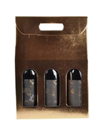 Caixa Pelle Oro Scatola para 3 Garrafas - Dourado - 270x90x385mm - CX3263