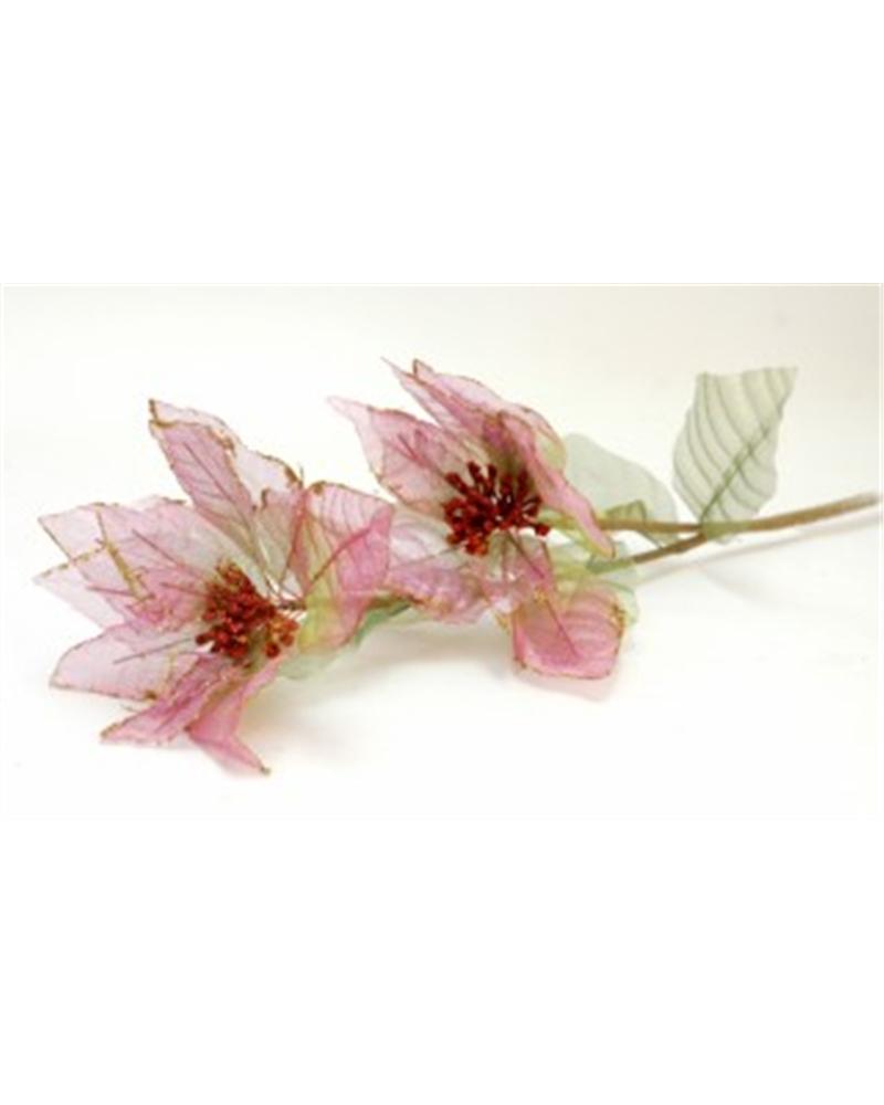 Haste Flor Petala Organza Verde/Rosa (2) - Verde - 90cm - DVC0197