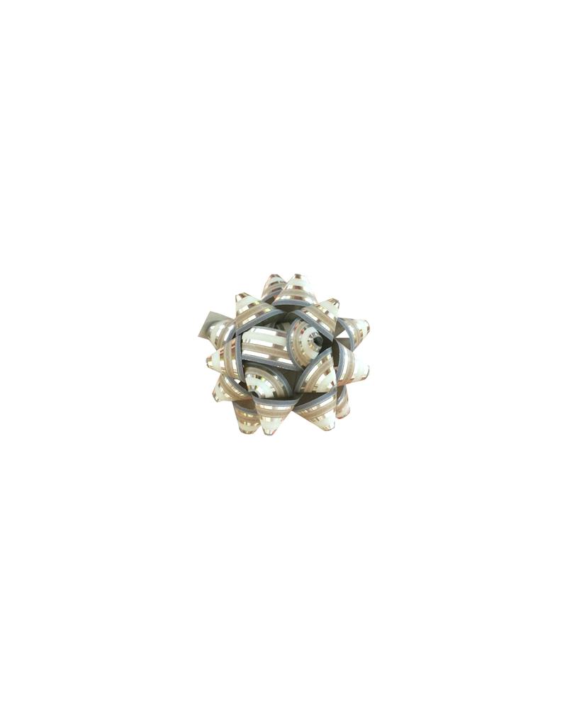 Laço Metal. 68166 c/Autocolante Riscas Prateado  10mm - Prateado - 10mm - LÇ0662