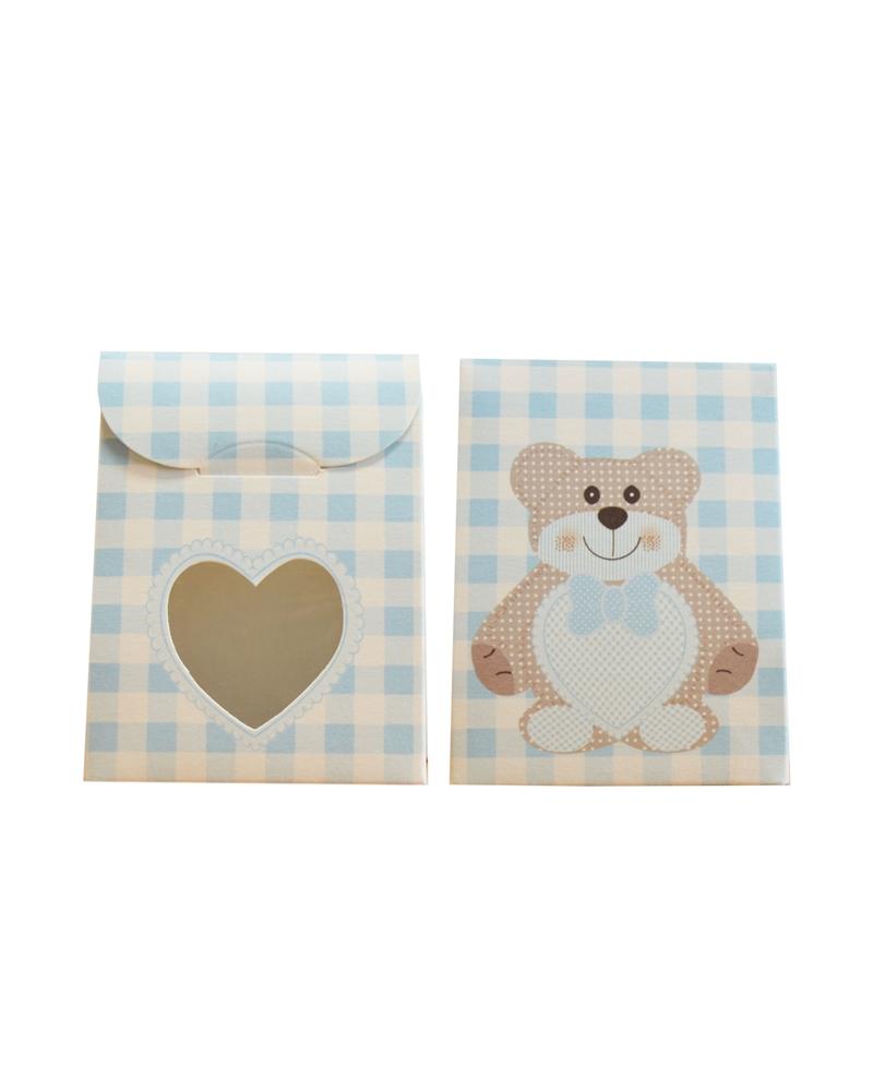Caixa Criança Teddy Bear Azul Sacchetto c/Fin. - Azul - 60x35x80mm - CX3472