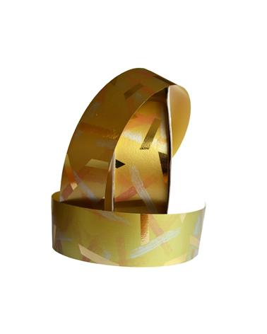 "Rolo Fita Metalizada ""Shanghai"" Dourado 31mm - Dourado - 31mmx50mts - FT2983"