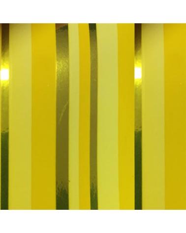 """Rolo de Fita Metalizada """"Righe"""" Amarelo com Riscas 13mm - Amarelo - 13mmx200mts - FT3892"""