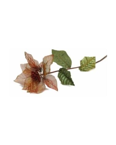 Haste Flor Petala Organza Vermelho/Dourada - Vermelho - 77cm - DVC0198