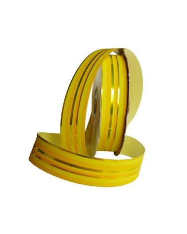 """Rolo de Fita Metalizada """"Righe"""" Amarelo com Riscas 31mm - Amarelo - 31mmx100mts - FT3894"""
