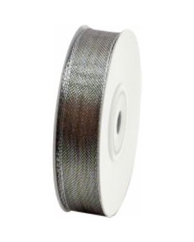 Fita Organza Metalizada Cor Chumbo 15mm - Cinza - 15mmx10mts - FT3668