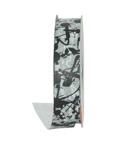 Rolo Fita Seda Fantasia Pollock Preta 31mmx100mts - Preto - 31mmx100mts - FT5006