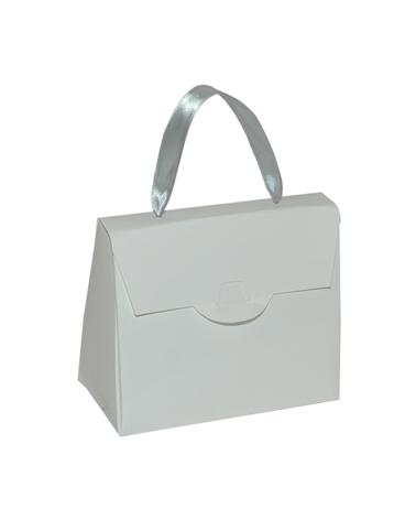 Pochete Branco Brilho c/ Fita de Cetim - Branco - 13x6.5x11cm - EO0699